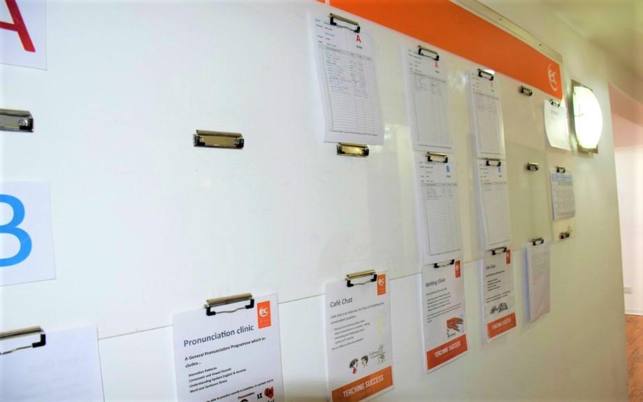 EC Maltaの選択授業連絡ボード