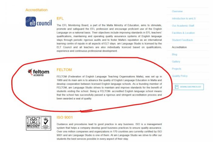 マルタの人気語学学校am Language Studioを認定している団体一覧