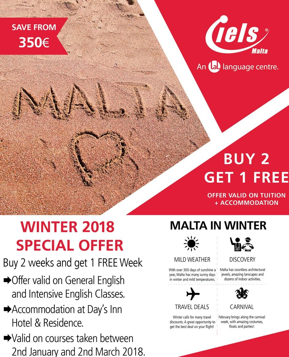マルタの人気語学学校Institute of English Language Studiesの冬キャンペーンオファー