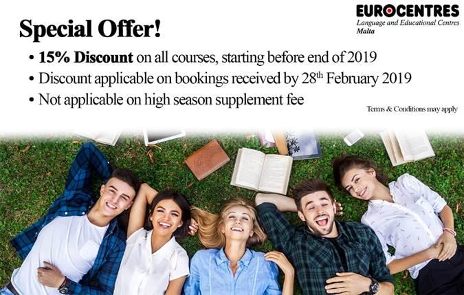 マルタ留学の人気語学学校Eurocentresの2019年割引キャンペーン内容